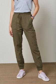 Khaki Tencel™ Blend Cargo Trousers