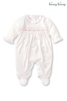 Kissy Kissy White Hand Embroidered Smocked Babygrow