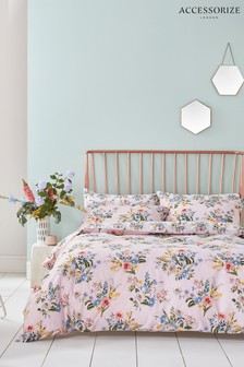 Accessorize Vintage Bloom Floral Cotton Duvet Cover and Pillowcase Set