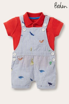 Boden Multi Short Dungarees And Top Set