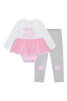 Baby Girls White/Pink Cotton Leggings Set