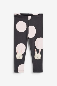 Pink/Grey Bunny Organic Cotton Embroidered Leggings (3mths-7yrs)