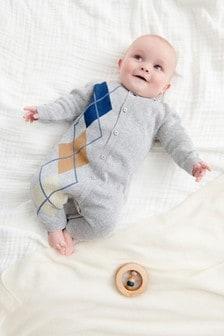 Grey Argyle Pattern Knitted Romper (0mths-3yrs)
