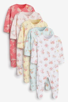 Ditsy Floral 5 Pack Printed Sleepsuits (0-2yrs)