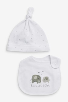White Born In 2020 Bib & Hat (0-6mths)