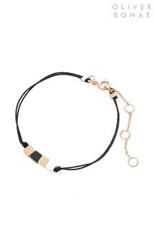 Oliver Bonas Black Tawah Square Bead & Cord Bracelet