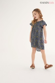 Oasis Navy Ditsy Dress