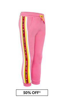 Girls Pink Cotton Joggers