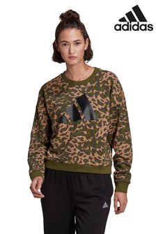 adidas Beige All Over Print Animal Sweat Top