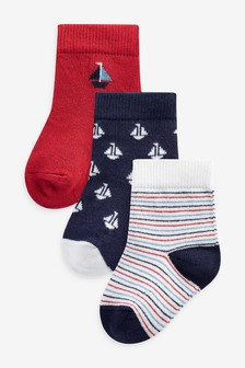 Navy/Red 3 Pack Boat Socks (Younger)
