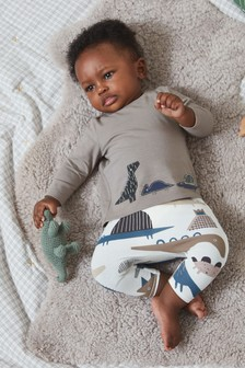 Monochrome Dinosaur T-Shirt And Legging Set With Stretch (0mths-2yrs)