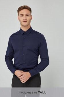 Navy Slim Fit Single Cuff Cotton Shirt