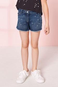 Dark Blue Pearl Denim Shorts (3-16yrs)