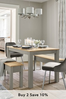 Dove Grey Malvern Dining Table And Bench Set