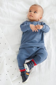 Blue Organic Cotton Sweatshirt/Joggers Set (0mths-2yrs)