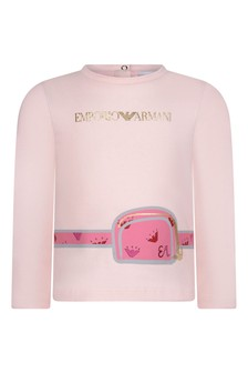 Baby Girls Pink Belt Bag Print Jersey T-Shirt