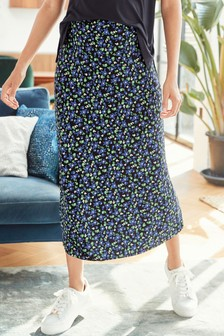 Navy Floral Maternity Bias Cut Jersey Slip Skirt