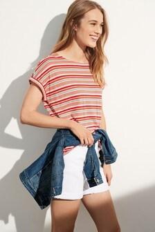 Linen Blend Pink Stripe Curved Hem T-Shirt