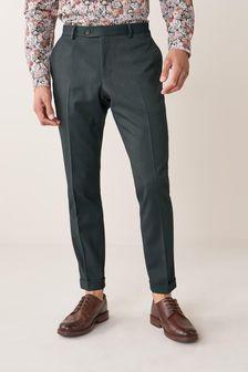 Green Slim Fit Herringbone Suit: Trousers