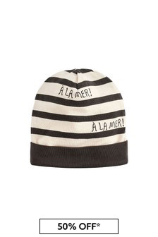 Kids Grey Stripes Beanie Hat