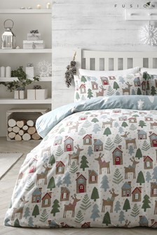 Fusion Brushed Cotton Skandi Deer Duvet Cover and Pillowcase Set