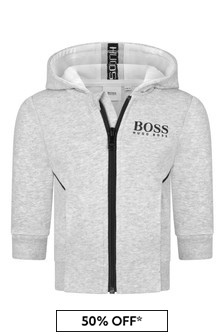 Boss Kidswear Baby Boys Grey Cotton Hoodie