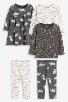 Monochrome 5 Pack Dress, Leggings And T-Shirt Set (3mths-7yrs)