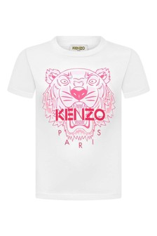 Girls White Cotton Tiger T-Shirt
