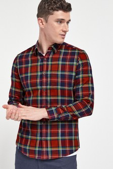 Red/Navy Slim Fit Check Brushed Long Sleeve Shirt