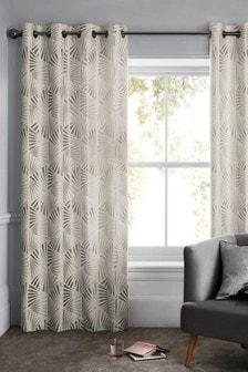 Ava Deco Metallic Jacquard Eyelet Curtains