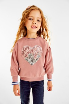 Pink Sequin Love Heart Puff Sleeve Crew Neck Sweat Top (3-16yrs)