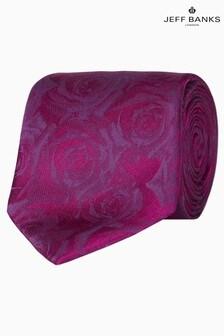 Jeff Banks Red Digital Style Roses Motif Silk Tie