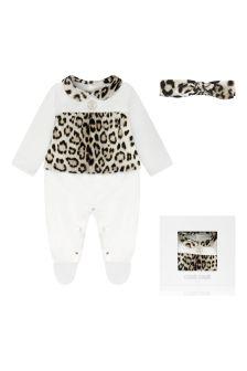 Girls Leopard Print Cotton Babygrow Gift Set