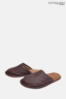 HotSquash Men's Brown Slip-On Slippers