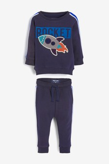 Navy Rocket Bouclé Crew And Joggers Set (3mths-7yrs)