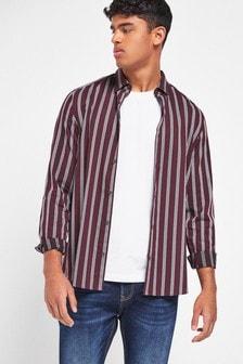 Burgundy Slim Fit Stripe Long Sleeve Shirt