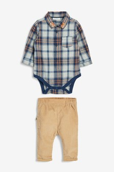 Blue/Neutral Checked Shirt And Cord Trouser Set (0mths-2yrs)