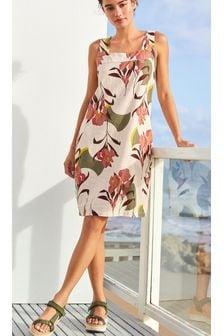 Floral Linen Blend Pintuck Shift Dress