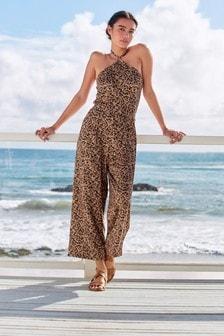 Brown Animal Culotte Jumpsuit