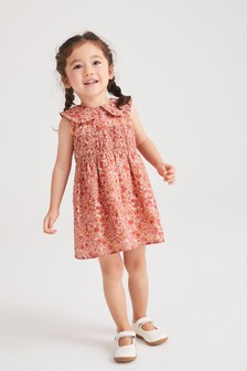 Pink Ditsy Shirred Cotton Collar Dress (3mths-7yrs)