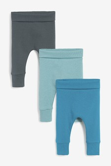 Teal 3 Pack Ribbed Leggings (0mths-2yrs)