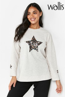 Wallis Sequin Star Sweatshirt