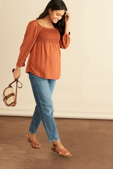 Mid Blue Maternity Straight Jeans