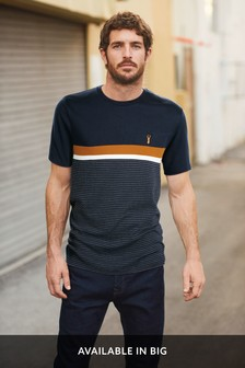 Navy/Orange Block Soft Touch Regular Fit T-Shirt