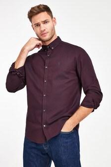 Burgundy Regular Fit Long Sleeve Stretch Oxford Shirt