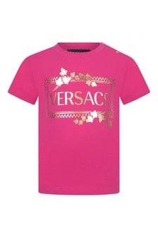 Pink Baby Girls Pink Cotton Logo T-Shirt