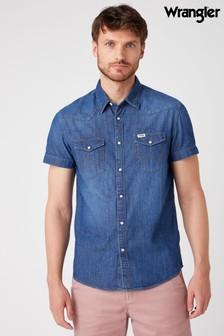 Wrangler Mid Summer Blue Shirt Sleeve Western Denim Shirt