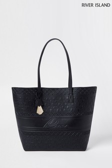 River Island Black Embossed River Shopper Bag