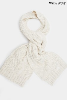 White Stuff Cream Penny Cable Knit Scarf