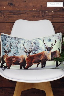 Glitter Stag Cushion by Riva Home